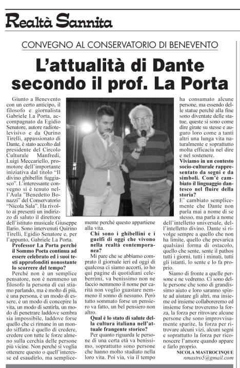 Realt. Sannita n. 15/2015 Gabriele La Porta Egidio Senatore